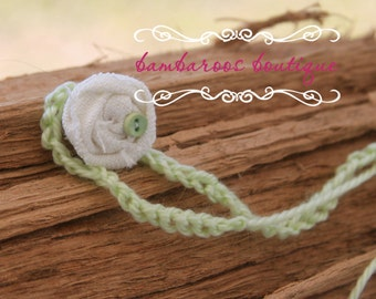 baby headband, Newborn photography props, ivory rosette on lime wool tie, newborn headband, vintage headband, lime headband