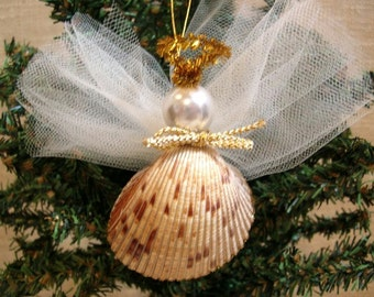 Seashell Angel Christmas Ornament - Sea Shells, Beach Decor