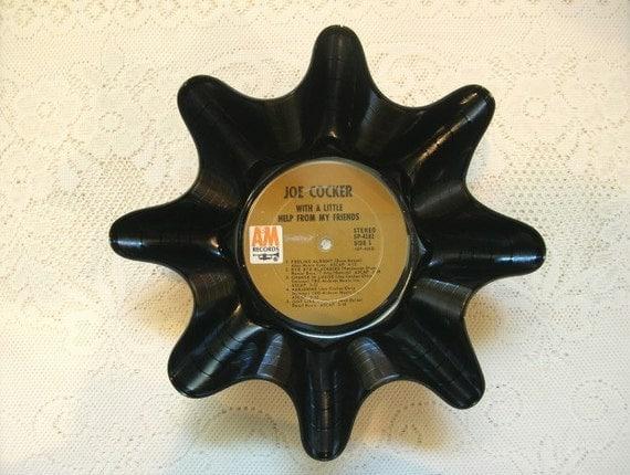 Joe Cocker Record Bowl Made From Repurposed Vinyl Album