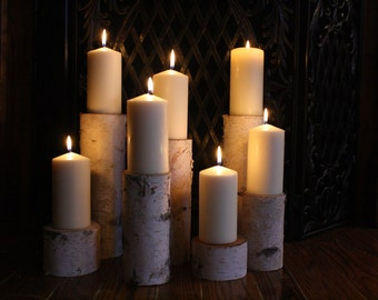 Birch Pillar Candle Holders  Fireplace Decor Home Decor Rustic Holiday Christmas Mantle