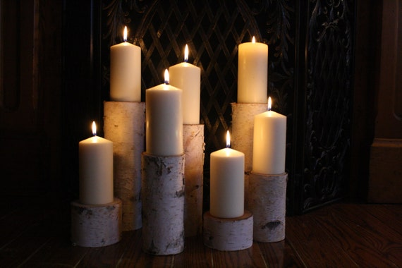 Birch Pillar Candle Holders Fireplace Decor By