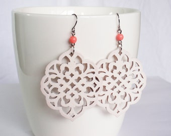 Coral pink and white earrings - surgical steel earwires nickel free lead free