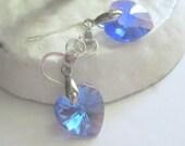 Swarovski Crystal Heart Earrings Sapphire Blue Dangle Earrings Sterling Silver Handmade Jewelry