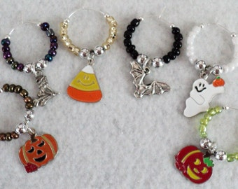 Halloween, Halloween Party, Wine Glass Charm, Wine Glass Marker, Party Accessory,Winery Gift, Ghost, Candy Corn, Fall, Autumn  - Set of 6