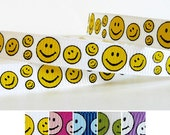 5 Yards YELLOW HAPPY FACE on White 3/8 Grosgrain Ribbon (other colors also available)