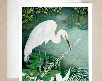 Egret art, Great White Egret in natural habitat - water bird art on blank note card, water lily pond, Narcissus reflection fantasy