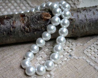 80pcs 10mm White Bead Glass Pearl Round 2x16 Inches Strand