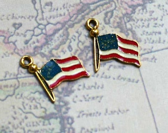 2 USA Flag Charm Drop Enamel Gold-plated Pewter 16mm American Patriotic Charms