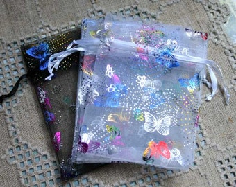 12pcs Organza Gift Pouch Bag Jewelry Bags 4 in Butterflies Blakc and White