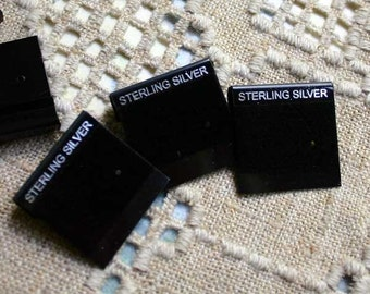 100pcs Velour Earring Card Black Sterling Silver Small 1x1 Inches With 2 Holes
