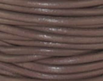 2mm Enland Grey Round Leather Cord  6 Feet Or 2 Yards (1.82 m)
