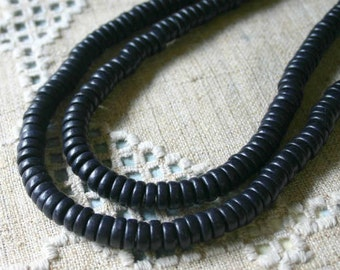 200pcs Wood Beads Rondelle Black 8x4mm Flat Disc Round Coin 2 16 Inches Strands