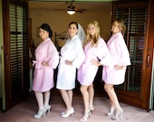 Set of 4 Adult Personalized Wedding Party Bridesmaids Spa Robes 1 child robe Front and back embroidery  Custom Made