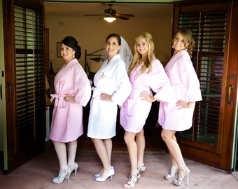 Set of 4 Bridesmaids robes Kimono Crossover Spa Wrap Perfect bridesmaids gift Front embroidery is included