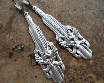 Guardian Gargoyle Gothic Art Deco Earrings in Silver