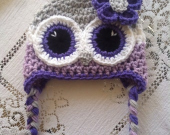 Newborn owl hat light grey purple and lavender