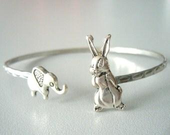 Bunny cuff bracelet with an elephant wrap style, animal bracelet, charm bracelet, bangle