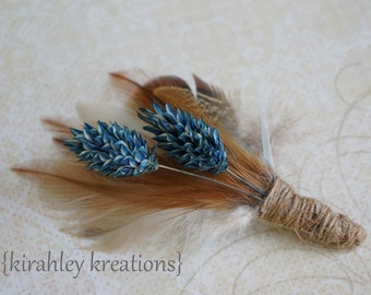 JACK -- Rustic Country Burnt Orange, Ivory Feather and Dried Blue Foliage Wrapped in Burlap Twine Grooms Keepsake Fall Wedding Boutonniere