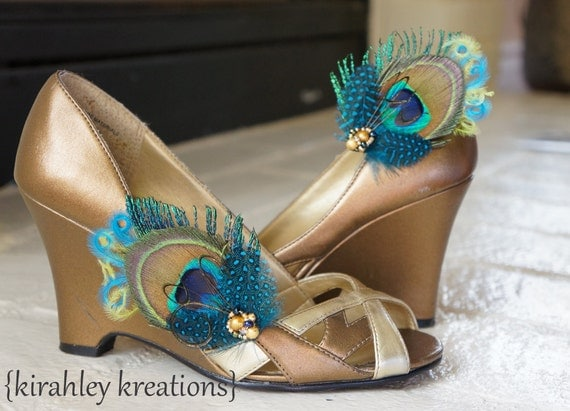 FAELYNN -- Peacock Feather Wedding Bridal Bridesmaid Shoe Clips with Teal Turquoise Blue Lime Green Accents Freshwater Pearl Beaded Clusters