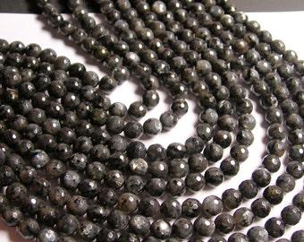 Larvikite  - 8mm faceted round beads -1 full strand - 48 beads - AA Quality - black labradorite - NRG150