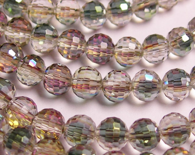 Crystal - round faceted 6mm beads - 72 beads - AA quality - sparkle watermelon  - Full strand - FCABR1