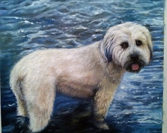 Dog portrait from photo, large oil painting on canvas. 100% money-back guarantee