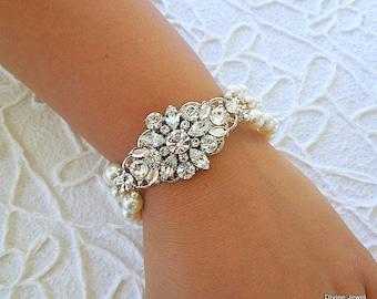 bridal bracelet, pearl rhinestone Bracelet, Statement Bridal Bracelet, Wedding Rhinestone Bracelet, swarovski crystal bracelet, SAVANNAH