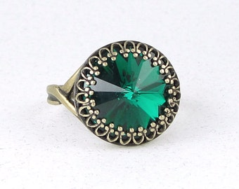 Emerald Green Ring Swarovski Crystal Ring Green Antique Bronze Rings Adjustable or Size 8 Ring - Gifts for Women Holiday Festive Jewelry
