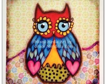 Daisy Owl -  Mixed Media Art Print