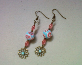 Pink and Aqua Flower Earrings (0778)
