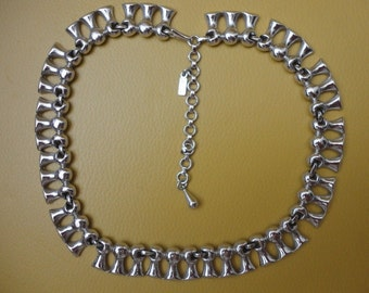 Monet Silver Tones Heavy Chunk Links Necklace   Free shipping