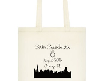 City Skyline Bachelorette Party Totes, Bachelorette Party Gifts, Bachelorette Party Favors, Chicago Bachelorette