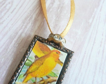 Spring Rain, Fall Gold-Finch- Ribbon Necklace