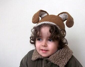 Brown and beige Baby Bunny Hat- Rabbit Hat