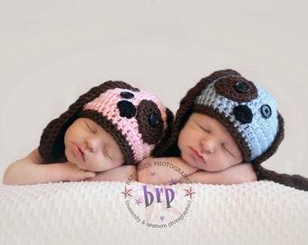 Twin Puppy Hat /Twin Newborn Props/ Twin Hats / Twin Dog Hats