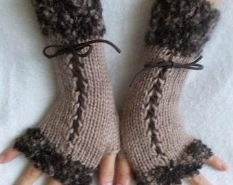 Knit Fingerless Corset Gloves Wrist  Warmers in Brown Tones Women Fashion