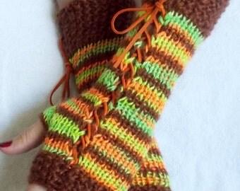 Women Fingerless Corset Gloves Arm Warmers in Copper Brown Orange Green Tones