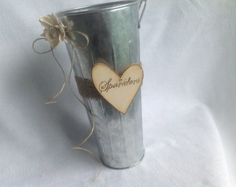 Rustic Sparklers Holder or Honeymoon Fund  Vase