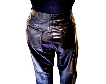 VIntage 80's Black Leather Pants in Riveted Jean Cut by Wilson's Waist 30