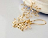 Tree of Life Earrings, Gold Leafy Branch Kidney Dangle Earrings,  Everyday Jewelry, Leafy Branch Pendant, Bridal Party Gifts, Holidays gift