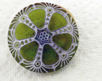 Czech Glass Button Fortuna Olive Green with Silver