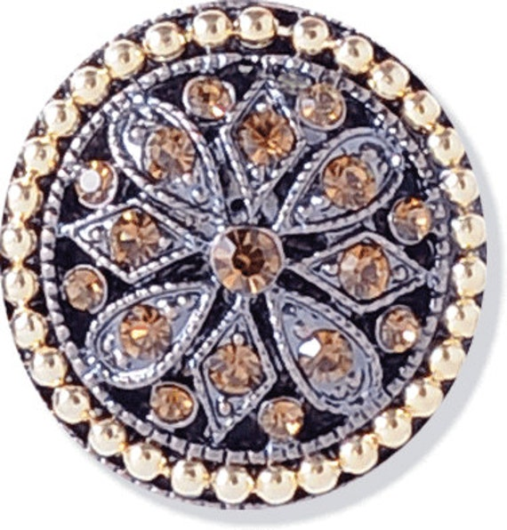 Grace Copper Button with Topaz Rhinestones Metal Buttons Shank Autumn