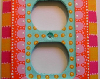 """Switch Plate Hand Painted Two Plug Outlet Cover """"Orange Blossom"""""""