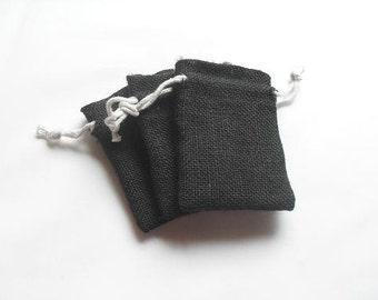 "2 Black Burlap bags 4"" X 6"" for candles handmade soap wedding"