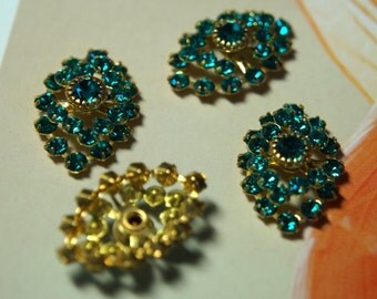Vintage Swarovski Blue Zircon Rhinestone Findings 23x16mm (2)