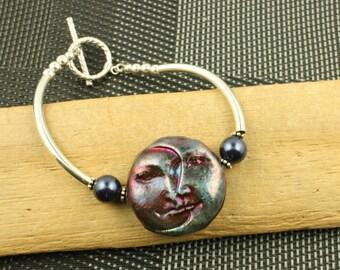 Statement OOAK Blue  Moon Face Raku Sterling Silver Bracelet