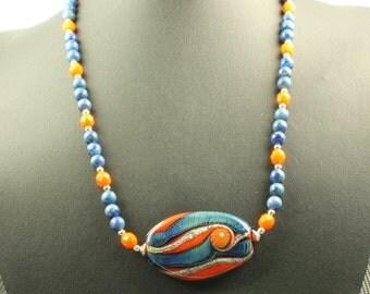 Bronco Statement Necklace OOAK Blue Orange Swirl Lampwork  Necklace