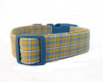 Yellow and Blue Plaid Dog Collar