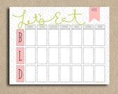 Pink and Green Let's Eat Weekly Menu Planner Printable Instant Download