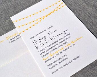 Yellow Gray Bunting Lanterns -  Modern Wedding Invitation Sample